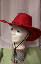 cowboy kalap piros velúr