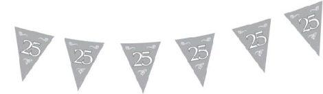 """10 m hosszú zászlógirland """"25"""" ezüst"""