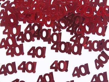 40. évszámos konfetti (14 gr.) piros
