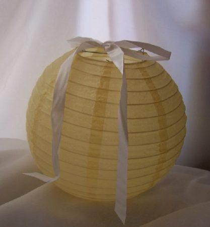 lampion gömb 25 cm-es, szalag nélkül(krém)