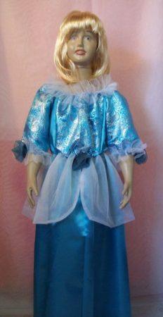 Kék, hercegnő jelmez (116-os méret)
