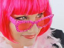 Rózsaszín pöttyös szemüveg