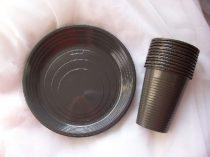 fekete szett (10 db 1,9 dl pohár + 10 db 16,5 cm tányér)