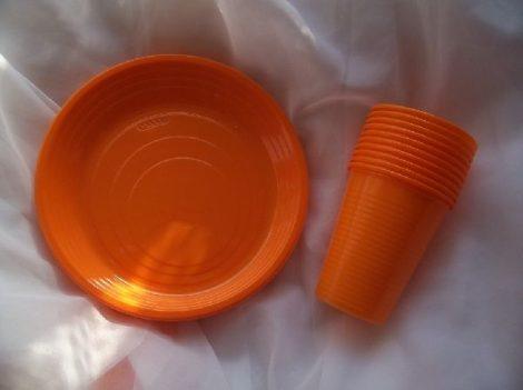 narancs szett (10 db 1,9 dl pohár + 10 db 16,5 cm tányér)