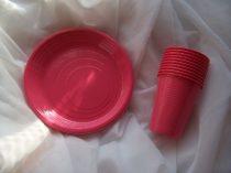 pinkrózsaszín szett (10 db 1,9 dl pohár + 10 db 16,5 cm tányér)