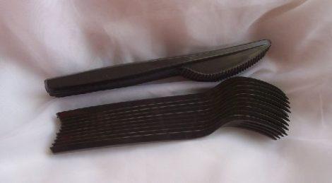 fekete evőeszköz szett (10 db kés+10 db villa)