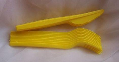 sárga evőeszköz szett (10 db kés+10 db villa)