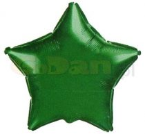 Csillag fólia lufi zöld (45 cm)