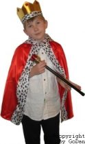 király farsangi jelmez (korona, jogar, palást)