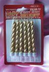 szülinapi tortagyertya arany (12 db)