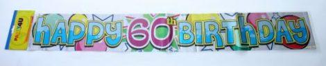 60. évszámos Happy Birthday fólia felírat (3,6 m)