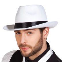 gengszter kalap fehér, textil (04372-B)