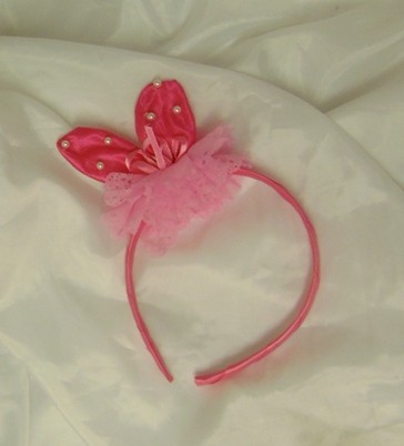 nyuszifül gyöngyös-csipkés pink