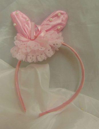 nyuszifül gyöngyös-csipkés rózsaszín