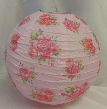 vintage rózsás papír lampion, 30 cm