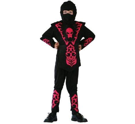 ninja farsangi jelmez fekete, piros díszítéssel (120-130 méret)-STCNC