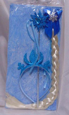 Jégvarázs Elsa szett (korona, varázspálca, copf)