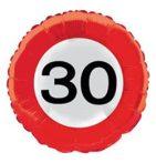 Évszámos fólia lufi 30. közlekedési tábla