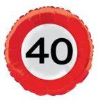 Évszámos fólia lufi 40. közlekedési tábla