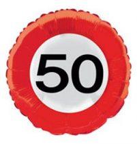 Évszámos fólia lufi 50. közlekedési tábla