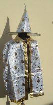 Varázsló kalap+köpeny (70 cm)-fehér vagy fekete színben halloweenre farsangra