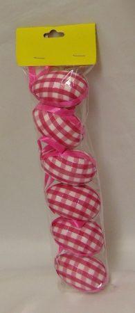 húsvéti tojás 6 cm-s (6 db) pink kockás