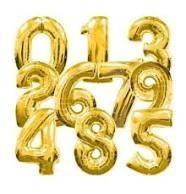 2. szám fólia lufi (35 cm), arany