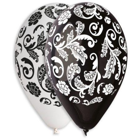fekete-fehér és fehér-fekete indás lufi (10 db)