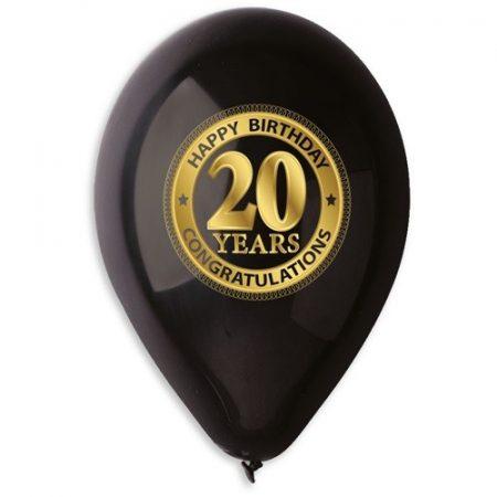 lufi 20. születésnapra, fekete(10 db)