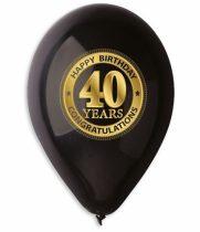 lufi 40. születésnapra, fekete(10 db)