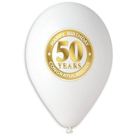 lufi 50. születésnapra, fehér (10 db)