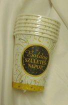 Boldog születésnapot ! pohár, arany-fekete (6 db)