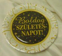 Boldog születésnapot ! tányér 23 cm-s, arany-fekete (6 db)