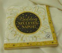 Boldog születésnapot ! szalvéta, arany-fekete ( 16 db)