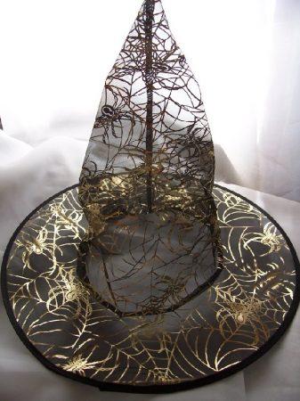 boszi kalap fekete arany pókhálóval