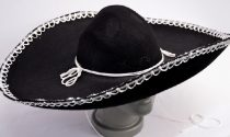 Óriás, fekete sombrero fehér díszítéssel-(54-32)