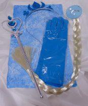 Jégvarázs Elsa szett 4 részes-(korona, pálca, copf, kesztyű)