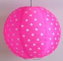 Pöttyös organza lampion 25 cm-s, pink