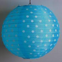 Pöttyös organza lampion 25 cm-s, türkizkék