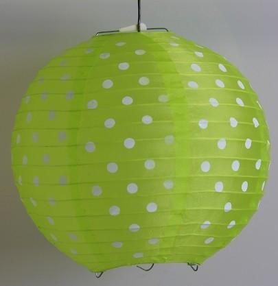 Pöttyös organza lampion 25 cm-s, élénkzöld