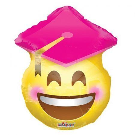 ballagási fólia lufi, rózsaszín kalapos smiley,45 cm-CO35796-18