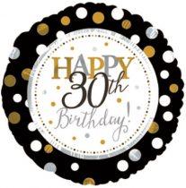 30. évszámos születésnapi fólia lufi, fekete-arany (45 cm) -117802