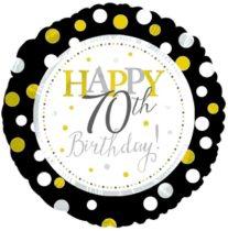 70. évszámos születésnapi fólia lufi, fekete-arany (45 cm)
