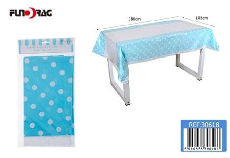 műanyag terítő kék pöttyös (108 x 180 cm)-30618