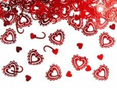 csipkés szív konfetti (15 gr), piros