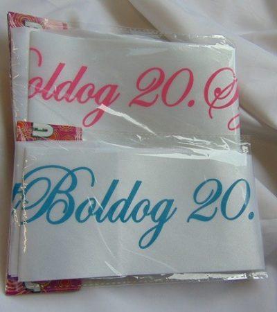Boldog 20. születésnapot ! vállszalag (kék vagy rózsaszín)