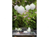 Lampion gömb világító, LED, fehér (25 cm)