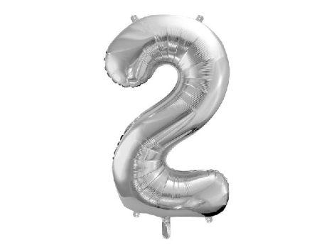 """óriás szám fólia léggömb """"2"""", ezüst"""