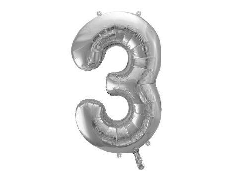 """óriás szám fólia léggömb """"3"""", ezüst"""