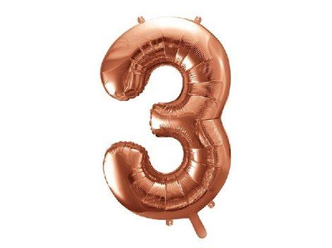 """óriás szám fólia léggömb """"3"""", rosegold"""